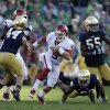 Oklahoma\'s Trevor Knight (9) runs during the second half of an NCAA college football game against Notre Dame, Saturday, Sept. 28, 2013, in South Bend, Ind. Oklahoma defeated Notre Dame 35-21. (AP Photo/Darron Cummings) ORG XMIT: INDC119