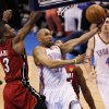 Oklahoma City\'s Derek Fisher (37) goes past Miami\'s Dwyane Wade (3) during Game 1 of the NBA Finals between the Oklahoma City Thunder and the Miami Heat at Chesapeake Energy Arena in Oklahoma City, Tuesday, June 12, 2012. Photo by Nate Billings, The Oklahoman