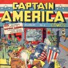 This illustration provided by Marvel Comics shows the cover of the first issue of Captain America, created in 1941 to incarnate patriotic feeling during World War II. In the latest issue, which hits the stands Wednesday, March 7, 2007, Captain America is shot down by a sniper as he leaves a courthouse. (AP Photo/Marvel Comics) **NO SALES** ORG XMIT: NYR101