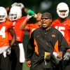 Co-offensive coordinator Trooper Taylor yells instructions during the first Oklahoma State University fall football practice, in Stillwater, Okla., Thursday, July 31, 2008. BY MATT STRASEN, THE OKLAHOMAN