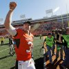 OSU quarterback Brandon Weeden (3) acknowledges the fans after the college football game between the Oklahoma State University Cowboys (OSU) and the Baylor University Bears at Boone Pickens Stadium in Stillwater, Okla., Saturday, Nov. 6, 2010. OSU won, 55-28. Photo by Nate Billings, The Oklahoman