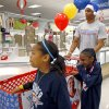 NBA BASKETBALL TEAM / CHILD / CHILDREN / KIDS / CHARITY: Russell Westbrook with the Oklahoma City Thunder shops with Destiny Williams, 10, left, and Jailin Williams, 7, during a shopping spree with the Sunbeam Family Services Grandparents Raising Grandkids program and the Thunder at a Target store in Oklahoma City, Thursday, December 16, 2010. Photo by Bryan Terry, The Oklahoman ORG XMIT: KOD