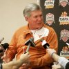 University of Texas head coach Mack Brown talks with the media during the Fiesta Bowl media day Friday, Jan. 2, 2009 in Scottsdale, Ariz. Texas will face Ohio State in the Fiesta Bowl NCAA college football game, Monday, Jan. 5, 2009. (AP Photo/Matt York) ORG XMIT: AZMY103