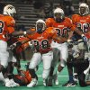 Photo - Bush Defensive players (L-R) Paul Lowe, Emmanuel Ogbah, De'Meris Terrel, and Dominique celebrate a stop on 4th down late in the game against Chavez.