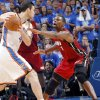 Miami\'s Chris Bosh (1) defends on Oklahoma City\'s Nick Collison (4) during Game 1 of the NBA Finals between the Oklahoma City Thunder and the Miami Heat at Chesapeake Energy Arena in Oklahoma City, Tuesday, June 12, 2012. Photo by Chris Landsberger, The Oklahoman
