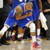 Los Angeles Clippers forward Caron Butler reacts after scoring as time expired in the first half of an NBA basketball game against the Los Angeles Lakers, Friday, Nov. 2, 2012, in Los Angeles.(AP Photo/Gus Ruelas)