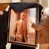 New York artist Everett Raymond Kinstler, right, is aided by Richard Ellwanger in the unveiling and dedication of portrait of Dr. John Hope Franklin in a ceremony at the state capitol on Wednesday, Feb 22, 2012. Ellwanger is chairman of the State Capitol Preservation Commission. Born in Rentiesville and a graduate of Booker T. Washington High School in Tulsa, Franklin went on to become a nationally recognized historian, author and civil rights advocate. He was a lifelong educator. Franklin died in 2009. Photo by Jim Beckel, The Oklahoman