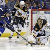 Photo - St. Louis Blues' Magnus Paajarvi, of Sweden, tries to get off a shot as Boston Bruins' Reilly Smith, center, and goalie Tuukka Rask, of Finland, defend during the second period of an NHL hockey game Thursday, Feb. 6, 2014, in St. Louis. (AP Photo/Jeff Roberson)