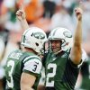 Photo -   New York Jets punter Robert Malone (3) congratulates kicker Nick Folk (2) after Folk made the game-winning field goal in overtime of an NFL football game against the Miami Dolphins, Sunday, Sept. 23, 2012, in Miami. The Jets won 23-20. (AP Photo/Rhona Wise)