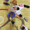 Houston\'s Jeremy Lin (7) goes to the basket beside Oklahoma City\'s Reggie Jackson (15) during Game 6 in the first round of the NBA playoffs between the Oklahoma City Thunder and the Houston Rockets at the Toyota Center in Houston, Texas, Friday, May 3, 2013. Oklahoma City won 103-94. Photo by Bryan Terry, The Oklahoman
