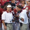 (Oklahoma VS South Florida college football at Owen Field, Saturday Sept. 28, 2002) OU head coach Bob Stoops & co-defensive coordinator Brent Venables during OU\'s game against South Florida. Staff Photo By Steve Gooch