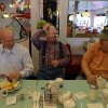 "Photo -   On this election day, as they do every day, people gather for breakfast in the Nutcracker Restaurant, a 1950's-style diner, in Pataskala, Ohio on Tuesday, Nov. 6, 2012. From left are Ken Armentrout, Lewie Hoskinson and Jack Cruikshank. Hoskinson, center, is a retired city worker who his friends claim is the only President Barack Obama supporter in the town of 14,000. ""I'm sure there are others, but I'm the only one who will admit it,"" he said, as his buddies laughed. His friends acknowledged that they weren't exactly thrilled with Mitt Romney as an alternative but said Obama hadn't done enough to get the economy moving. (AP Photo/Michael E. Keating)"