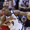Memphis Grizzlies\' Tony Allen (9) is fouled by Portland Trail Blazers\' Damian Lillard during first half of an NBA basketball game in Memphis, Tenn., Wednesday, March 6, 2013. (AP Photo/Danny Johnston)
