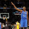 Oklahoma City\'s Kevin Durant (35) throws a kiss to the Laker fans as James Harden steps to the line to take two foul shots with 7.3 seconds left in the fourth quarter during Game 4 in the second round of the NBA basketball playoffs between the L.A. Lakers and the Oklahoma City Thunder at the Staples Center in Los Angeles, Saturday, May 19, 2012. Oklahoma City won, 103-100. Photo by Nate Billings, The Oklahoman