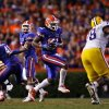 University of Florida\'s Brandon Spikes intercepts the ball early in the fourth quarter during UF\'s home win against LSU.--(Brandon Kruse/ The Gainesville Sun)
