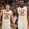 Oklahoma\'s Tiny Gallon (24) and Cade Davis (34) react in the 89-74 loss during the second half of the college basketball game between the University of Oklahoma (OU) and the University of Texas El Paso (UTEP) in the All College Basketball Classic at the Ford Center on Monday, Dec. 21, 2009, in Oklahoma City, Okla. Photo by Chris Landsberger, The Oklahoman ORG XMIT: KOD