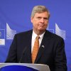 Photo - U.S. Secretary of Agriculture Tom Vilsack addresses the media at the European Commission headquarters in Brussels, Tuesday, June 17, 2014. (AP Photo/Yves Logghe)