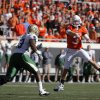 Oklahoma State quarterback Brandon Weeden (3) throws during the college football game between the Oklahoma State University Cowboys (OSU) and the Baylor University Bears at Boone Pickens Stadium in Stillwater, Okla., Saturday, Nov. 6, 2010. Photo by Chris Landsberger, The Oklahoman