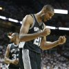 San Antonio Spurs forward Tim Duncan (21) reacts to play against the Miami Heat during the second half of Game 6 in their NBA Finals basketball series, Tuesday, June 18, 2013 in Miami. (AP Photo/Lynne Sladky)