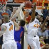 Oklahoma State\'s Markel Brown (22) blocks the shot of Texas-Arlington\'s Drew Charles (4) beside Philip Jurick (44)during a college basketball game between Oklahoma State University and UT Arlington at Gallagher-Iba Arena in Stillwater, Okla., Wednesday, Dec. 19, 2012. Photo by Bryan Terry, The Oklahoman
