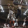 Virginia Tech guard Robert Brown (1) goes up for a rebound against Oklahoma State\'s Le\'Bryan Nash (2) during the second half of an NCAA college basketball game in Blacksburg, Va., Saturday, Dec. 1, 2012. (AP Photo/Daniel Lin) ORG XMIT: VADL111