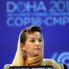 FILE - In this Monday, Nov. 26, 2012 file photo, Christiana Figueres, Executive Secretary of the United Nations Framework Convention on Climate Change (UNFCCC) attends the opening session of the United Nations Climate Change conference in Doha, Qatar. The United Nations climate chief is urging people not to look solely to their governments to make tough decisions to slow global warming, and instead to consider their own role in solving the problem. Approaching the half-way point of two-week climate talks in Doha, Christiana Figueres, the head of the U.N.\'s climate change secretariat, said Friday, Nov. 30, 2012 that she didn\'t see