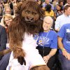 Leola Boyd meets Rumble the Bison at the OKC Thunder\'s home opener on Friday, Nov. 2 in Chesapeake Energy Arena in Oklahoma City, Okla.