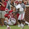 Dorial Green-Beckham (11) catches a pass during the University of Oklahoma Sooners (OU) practice and Student Day at Gaylord Family-Oklahoma Memorial Stadium in Norman, Okla., on Thursday, Aug. 21, 2014. Photo by Steve Sisney, The Oklahoman