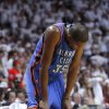 Oklahoma City\'s Kevin Durant (35) hangs his head during Game 5 of the NBA Finals between the Oklahoma City Thunder and the Miami Heat at American Airlines Arena, Thursday, June 21, 2012. Photo by Bryan Terry, The Oklahoman