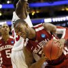 Oklahoma\'s Amath M\'Baye (22) tries to get past San Diego State\'s DeShawn Stephens (23) during a game between the University of Oklahoma and San Diego State in the second round of the NCAA men\'s college basketball tournament at the Wells Fargo Center in Philadelphia, Friday, March 22, 2013. San Diego State beat OU, 70-55. Photo by Nate Billings, The Oklahoman