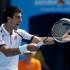 Serbia\'s Novak Djokovic reacts during his third round round match against Radek Stepanek of the Czech Republic at the Australian Open tennis championship in Melbourne, Australia, Friday, Jan. 18, 2013. (AP Photo/Dita Alangkara)