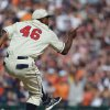 Photo - Detroit Tigers relief pitcher Jose Valverde celebrates the team's 7-4 win over the Atlanta Braves after an interleague baseball game in Detroit, Saturday, April 27, 2013. (AP Photo/Carlos Osorio)