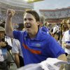 Florida head coach Will Muschamp celebrates after defeating Tennessee 33-23 in an NCAA college football game Saturday, Sept. 17, 2011, in Gainesville, Fla. (AP Photo/John Raoux) ORG XMIT: GVP112