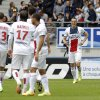 Photo - Paris Saint Germain's Edinson Roberto Cavani, second right, celebrates after he scored a goal against Sochaux during their French League One soccer match in Sochaux, eastern France, Sunday, April 27, 2014. (AP Photo/Laurent Cipriani)