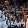 Memphis\' Tony Allen (9) shoots over Oklahoma City\'s Russell Westbrook (0) during Game 5 in the first round of the NBA playoffs between the Oklahoma City Thunder and the Memphis Grizzlies at Chesapeake Energy Arena in Oklahoma City, Tuesday, April 29, 2014. Photo by Sarah Phipps, The Oklahoman