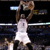 Oklahoma City\'s Kendrick Perkins (5) dunks during the NBA basketball game between the Denver Nuggets and the Oklahoma City Thunder in the first round of the NBA playoffs at the Oklahoma City Arena, Wednesday, April 27, 2011. Photo by Sarah Phipps, The Oklahoman