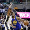 Utah Jazz\'s Earl Watson, left, defends Golden State Warriors\' Jarrett Jack (2) in the first quarter during an NBA basketball game Tuesday, Feb. 19, 2013, in Salt Lake City. (AP Photo/Rick Bowmer)