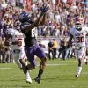 TCU\'s Cam White (88) catches a pass in front of Oklahoma\'s Demontre Hurst (6) and Javon Harris (30) late in a college football game between the University of Oklahoma Sooners (OU) and the Texas Christian University Horned Frogs (TCU) at Amon G. Carter Stadium in Fort Worth, Texas, Saturday, Dec. 1, 2012. Oklahoma won 24-17. Photo by Bryan Terry, The Oklahoman