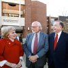 From left, Sandra O\'Brien, Gene Rainbolt and OU President David Boren. A new functioning bell tower is named for Sandra O\'Brien and her husband, Brian who provided the lead gift to the building\'s capital campaign. It is designed as a modern day version of the bell tower found at many old schoolhouses. The University Of Oklahoma\'s Jeannine Rainbolt College of Education is formally dedicated in a ceremony Monday afternoon, Dec. 6, 2010, on the university campus. The building underwent extensive remodeling and was reopened for classes this fall. to expand the facility was launched in 2006. The college is named for the late Jeannine Rainbolt, an OU education alumna. With the renaming of the building, it marks the first time in OU\'s history for a college to be named for a woman. Her husband, Gene Rainbolt, attended the ceremony and participated with OU President David Boren in the ribbon cutting ceremony. Photo by Jim Beckel, The Oklahoman