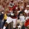 Oklahoma\'s Dominique Franks (15) returns an interception for a touchdown during the first half of the college football game between the University of Oklahoma Sooners (OU) and the University of Nebraska Huskers (NU) at the Gaylord Family Memorial Stadium, on Saturday, Nov. 1, 2008, in Norman, Okla. BY STEVE SISNEY, THE OKLAHOMAN