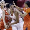 Photo - Maryland forward Alyssa Thomas, center, tries to protect the ball as she is double-teamed by Syracuse guards Isabella Slim (10) and Rachel Coffey, right, in the first half of an NCAA college basketball game in College Park, Md., Thursday, Jan. 16, 2014. (AP Photo/Patrick Semansky)