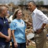 President Barack Obama talks with Plaza Towers Elementary Principal Amy Simpson outside the school in Moore, Okla., Sunday, May 26, 2013. President Obama toured the area in Moore that was hit by a tornado on May, 20, 2013. Photo by Bryan Terry, The Oklahoman ORG XMIT: OKC1305261411038212