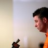Oklahoma State head coach Mike Gundy listens to questions from the media during a press conference at Boone Pickens Stadium in Stillwater, Okla., on Wednesday, Feb. 4, 2009. By John Clanton, The Oklahoman