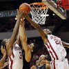 Oklahoma\'s Buddy Hield (3) and Amath M\'Baye (22) chase a rebound against Kansas State\'s Angel Rodriguez (13) and Rodney McGruder (22) during an NCAA men\'s basketball game between the University of Oklahoma (OU) and Kansas State at the Lloyd Noble Center in Norman, Okla., Saturday, Feb. 2, 2013. Kansas State won, 52-50. Photo by Nate Billings, The Oklahoman
