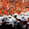 The Oklahoma State marching band enters the field during a college football game between the Oklahoma State University Cowboys (OSU) and the Lamar University Cardinals at Boone Pickens Stadium in Stillwater, Okla., Saturday, Sept. 14, 2013. Photo by Sarah Phipps, The Oklahoman