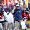 Mississippi head coach Hugh Freeze reacts to an official\'s call in the first half of their NCAA college football game against LSU in Baton Rouge, La., Saturday, Nov. 17, 2012. (AP Photo/Gerald Herbert)