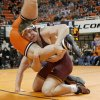 Minnesota\'s Tony Nelson wrestles Oklahoma State\'s Austin Marsden in the 285-pound match during the NWCA National Duals championship wrestling at Gallagher-Iba Arena in Stillwater, Okla., Sunday, Feb. 19, 2012. Minnesota won the dual 18-13. Photo by Bryan Terry, The Oklahoman