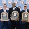 Photo - National Baseball Hall of Fame inductees Tom Glavine, Frank Thomas and Greg Maddux hold their plaques after an induction ceremony at the Clark Sports Center on Sunday, July 27, 2014, in Cooperstown, N.Y. (AP Photo/Mike Groll)