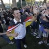 Europe\'s Martin Kaymer celebrates after winning the Ryder Cup PGA golf tournament Sunday, Sept. 30, 2012, at the Medinah Country Club in Medinah, Ill. (AP Photo/David J. Phillip) ORG XMIT: PGA232