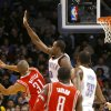 Oklahoma City\'s Serge Ibaka pressures a shot by Houston\'s Shane Battier during their NBA basketball game at the OKC Arena in downtown Oklahoma City on Wednesday, Nov. 17, 2010. Photo by John Clanton, The Oklahoman
